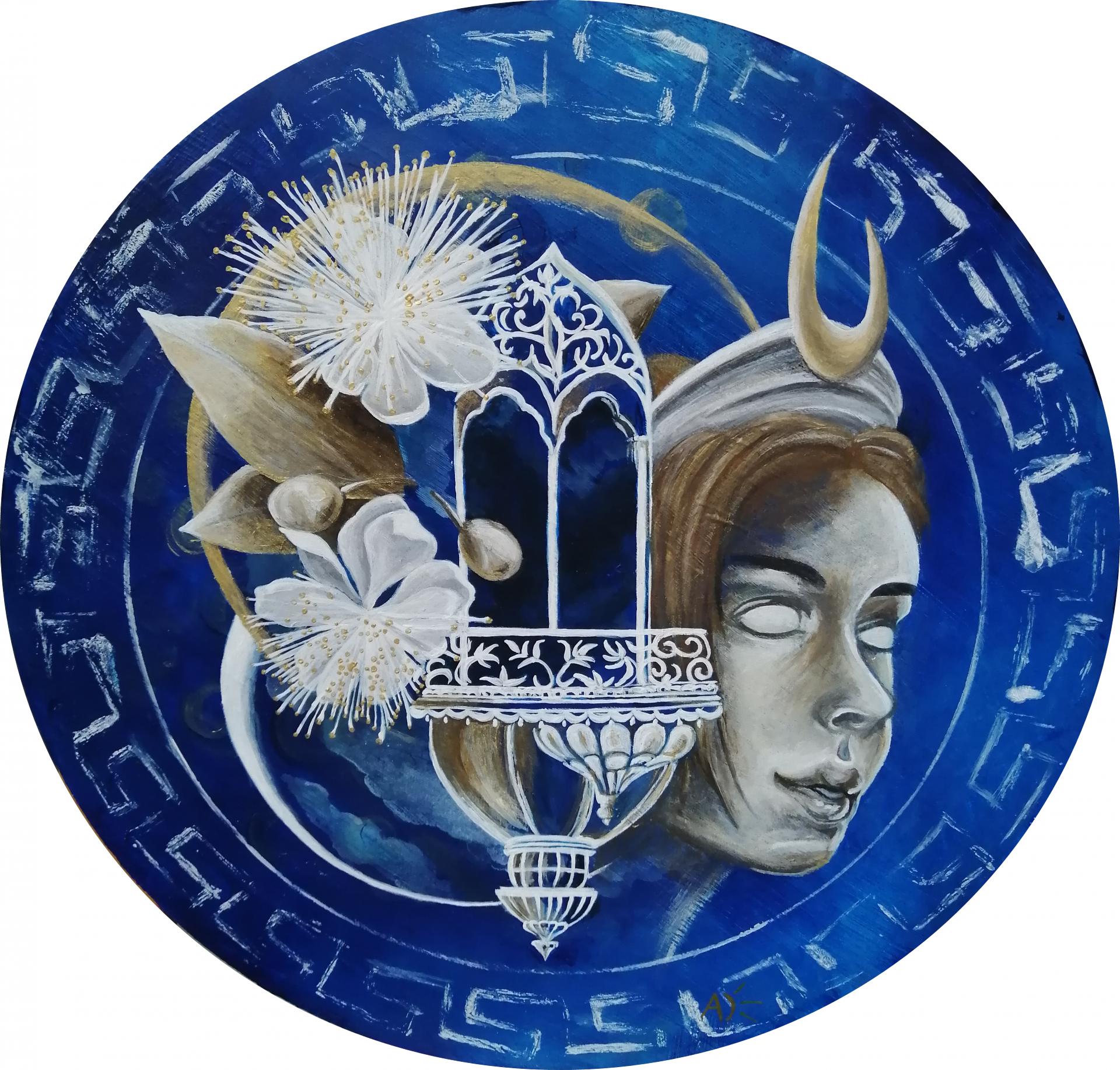 'Diane', 2020, inspiré d'une œuvre de l'artiste marine Loup, j'ai repris la structure d'ensemble et j'ai changé le style, les couleurs. Il y a beaucoup d'attributs de Diane, la fleur de myrte, le croissant de lune, la lune et son temple.
