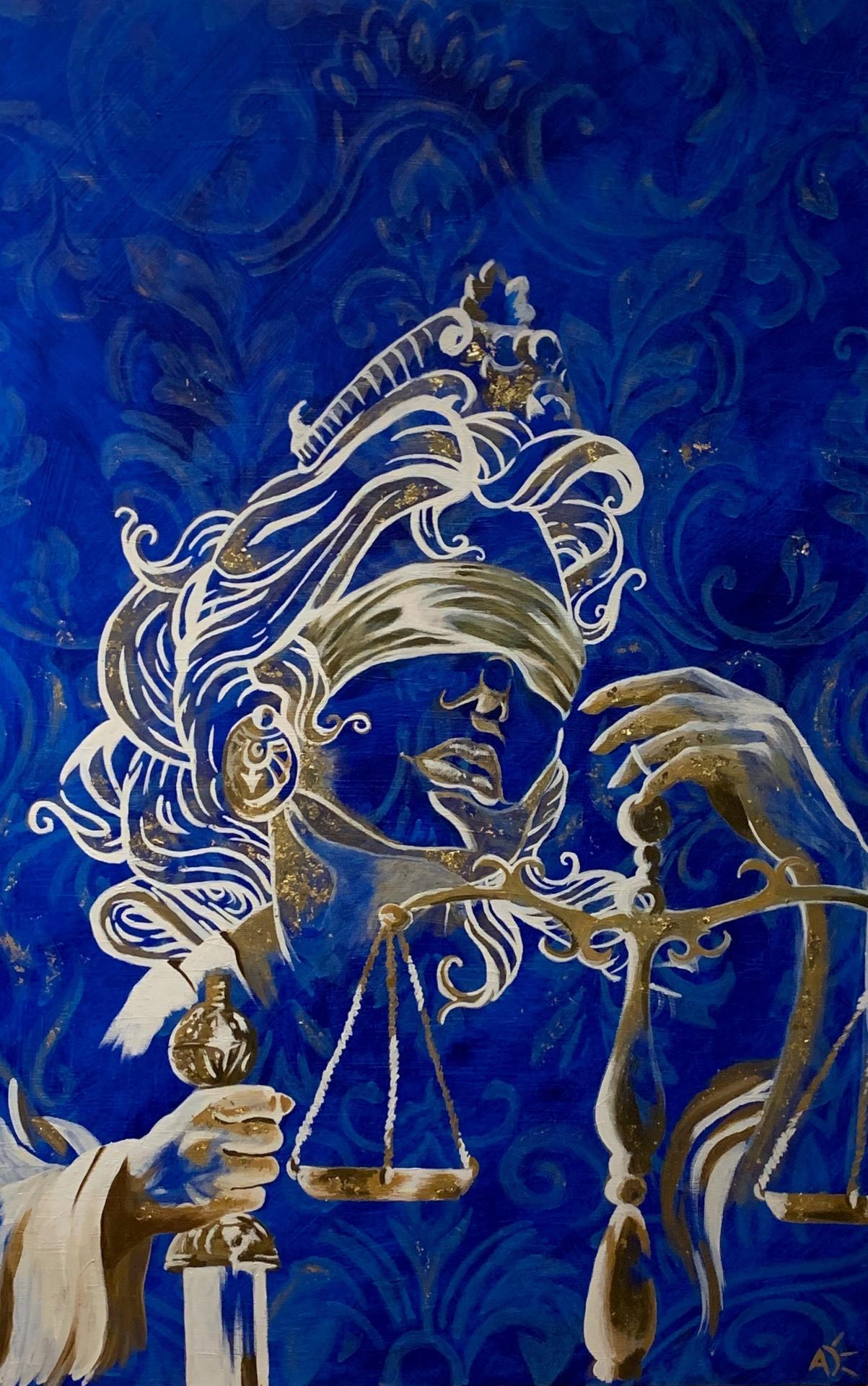 Thémis (2019) Déesse de la Justice, représentée dans l'art ancien tenant les plateaux d'une balance avec laquelle elle pèse les arguments des parties adverses et de l'autre un glaive , Elle a les yeux bandés pour montrer son impartialité.