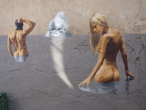 'Le bain', Big Ben street art (Rue Rangueil, 2015)