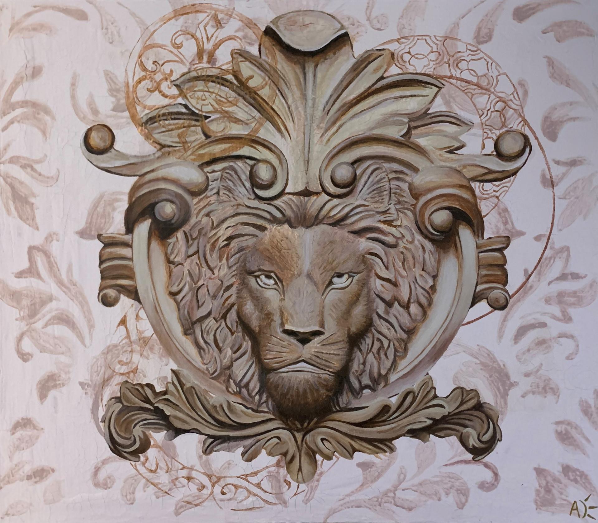 Lion de Nemée, 2021, Nîmes Peinture acrylique sur toile recyclé, couleur bronze et or.