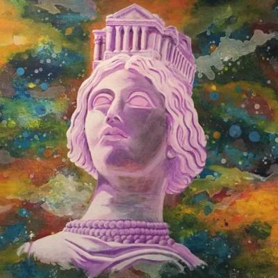 Son profil au type grec le plus pur, et sa coiffure est une couronne murale de la reproduction en miniature des Arènes, de la Maison-Carrée, du palais de justice et du théâtre