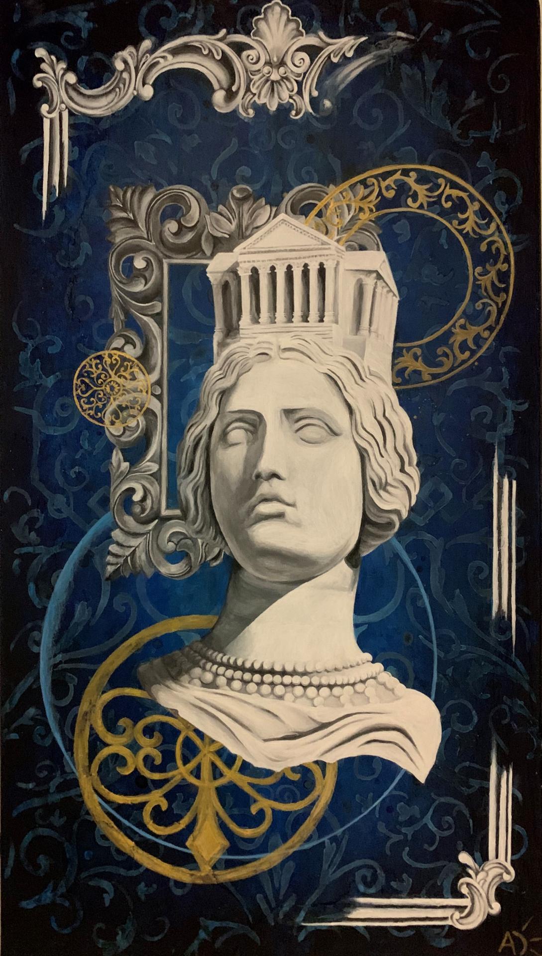 'Nîmes la romaine' 2020, oeuvre peinte sur châssis en bois. Peinture acrylique et vernis mat, peinture de la statue de Pradier de l'esplanade sur Nîmes. La statue est une allégorie de la ville de Nîmes.