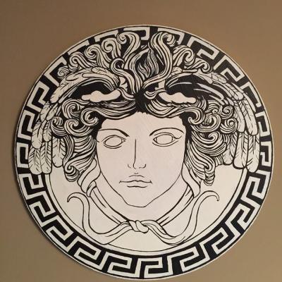 Tableau acrylique meduse style versace